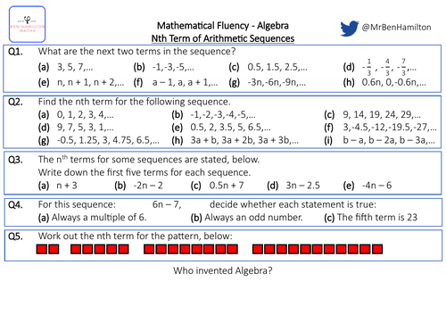 Nth Term of Arithmetic Sequences - Fluency: Pattern Recognition