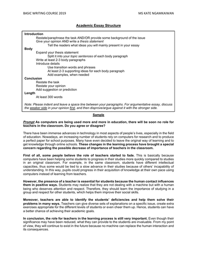 Examples Of Essays For High School  Sample English Essays also Essay Thesis Statement Academic Essay Structure And Exercises Topics For A Proposal Essay