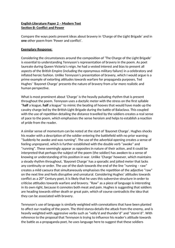 Conflict and Power Grade 9 essay: Charge of the Light Brigade and Bayonet Charge