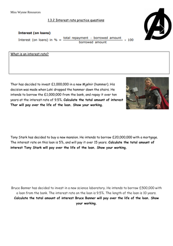 GCSE Business 1.3.2 Interest rate calculation worksheet and answersheet -  Avengers themed (EDEXCEL)