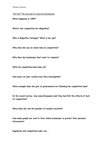 2.5.3 Alevel Business The competitive environment Ted Talk and question sheet (EDEXCEL)