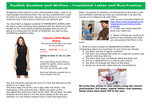 Functional Skills English Reading and Writing EL3-L1 - Writing a Complaint Letter