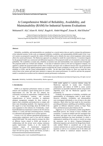 QM012 Reliability and Maintainability Model V002