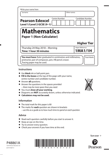 EDEXCEL GCSE MATHS PRACTICE PAPER 1  WITH ANSWERS