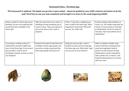 Homework menu for Stone Age topic