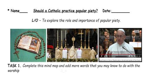 GCSE - Catholicsm Popular Piety - Lesson plan - worksheets - powerpoint