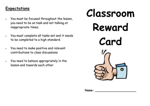 Classroom reward card