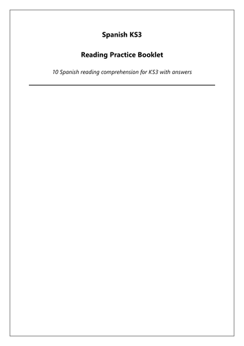 KS3 Spanish Reading Comprehension Booklet: exam style reading