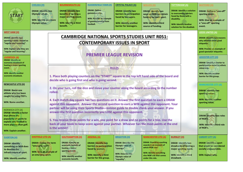 Cambridge National Sports Studies R051 Revision Board Game