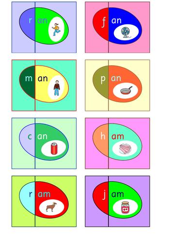 CVC - Word Families Matching Eggs Game