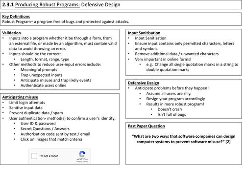 2.3 Producing Robust Programs Summary Sheet