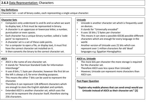 2.6 Data Representation Summary Sheets