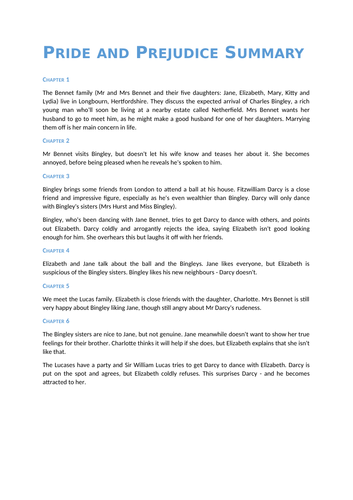 Pride and Prejudice Revision Guide (Plot, Characters, Themes, Quotes, Context)