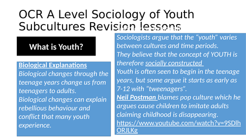 Detailed Revision PPT for OCR Youth Subcultures A level