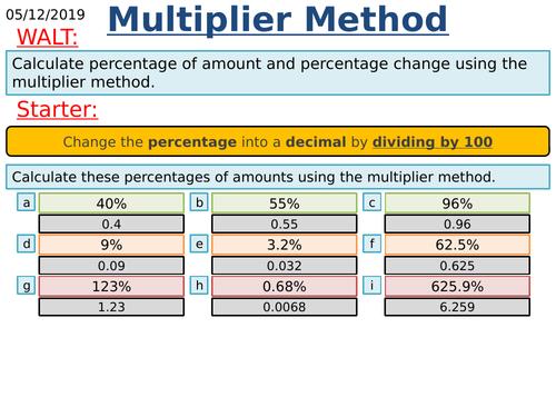KS3/KS4 Maths: Percentage Increase and Decrease using multiplier method
