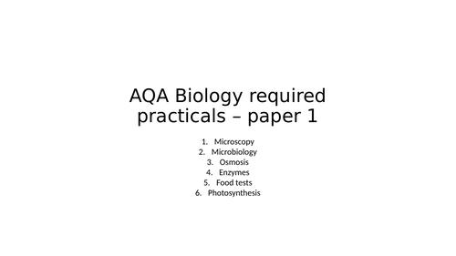 GCSE Biology required practicals - paper 1