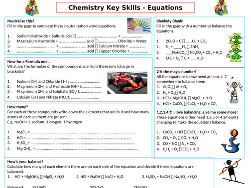 GCSE Chemistry Differentiated Writing Word Equations, Chemical Formula and Balancing Placemat
