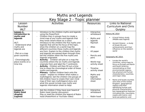 Myths and Legends 6 week topic plan- Key stage 2