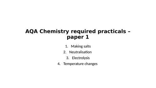 GCSE Chemistry required practicals - paper 1