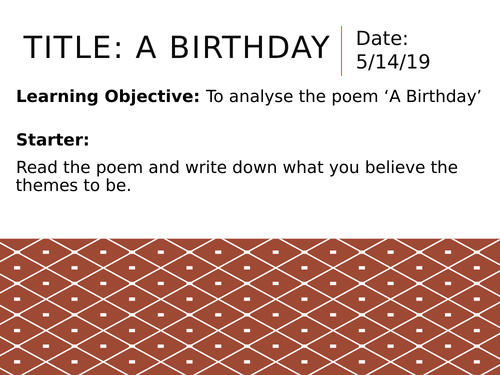 Edexcel A Level Paper 3 - Rossetti: A Birthday