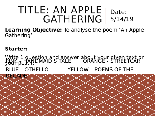 Edexcel A Level Paper 3 - Rossetti: An Apple Gathering