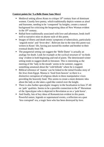 Edexcel Relationships Anthology- La Belle Dame Teaching Pack
