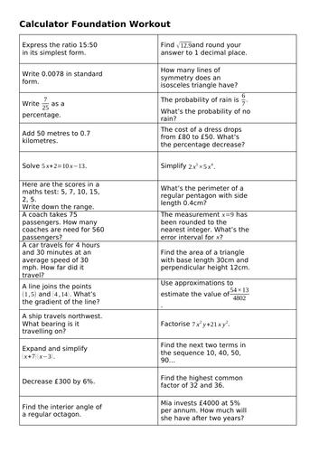 Foundation Maths GCSE Revision Workouts