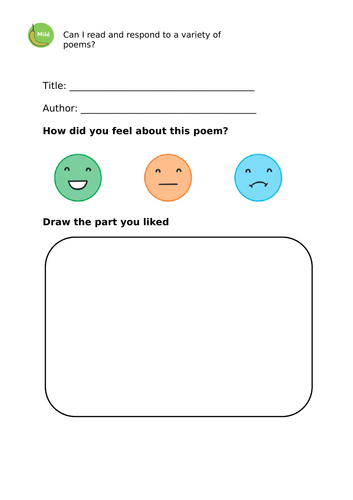 Responding to poetry activity sheets