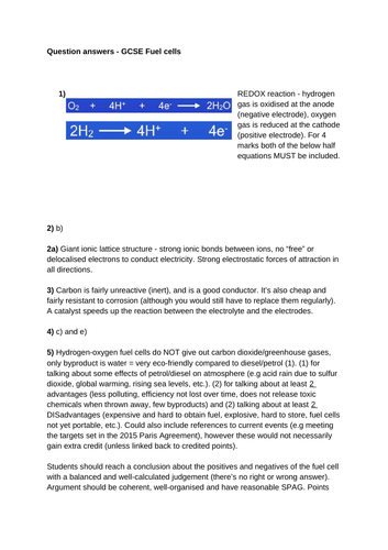 GCSE Chemistry Fuel Cells (hydrogen-oxygen) Worksheet