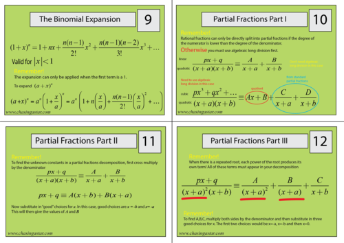 A-Level maths revision flash cards