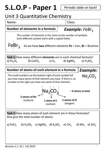 AQA Quantitative Chemistry S.L.O.P - Unit 3 - Revision Workbook for whole unit
