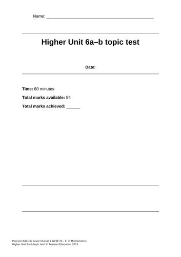 GCSE 9-1 Mathematics Higher Tier Exam Practice Tests -Unit 6-10 Pearson Edexcel