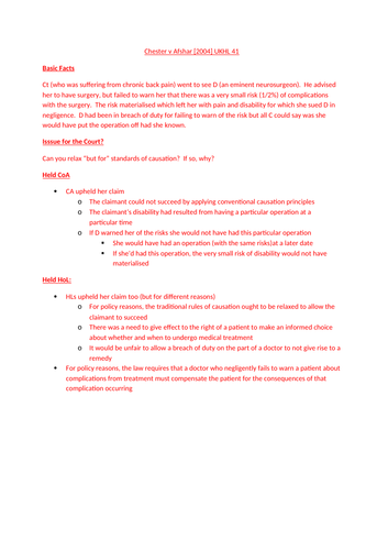 Tort Law Complete Notes (136 documents covering all case law and topics)