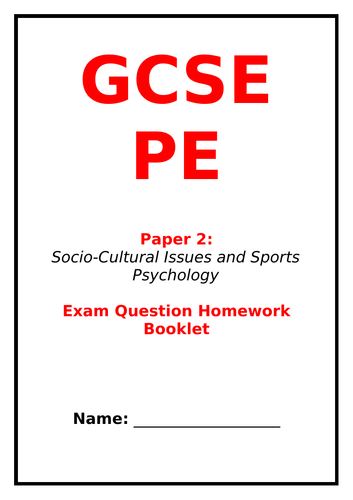 GCSE PE Paper 2 Exam questions revision booklet