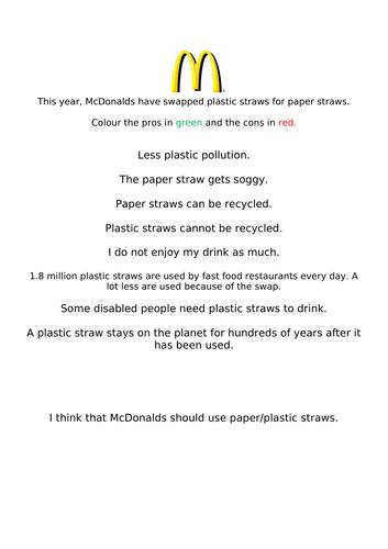 McDonalds Straws- Paper vs Plastic