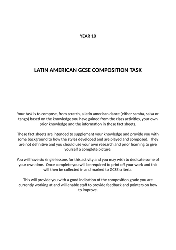 Year 10 Latin American Composition Project