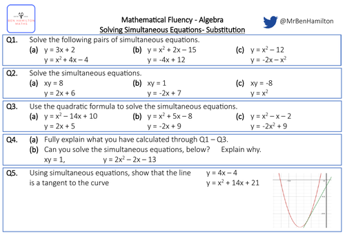 Solving Simultaneous Equations by Substitution - Fluency: Substitution, Graphing