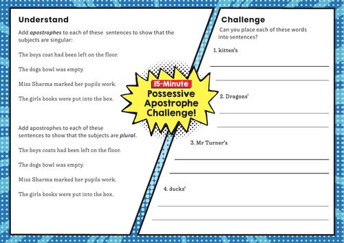 Possessive 's' – Y4 SPaG Challenge Mat