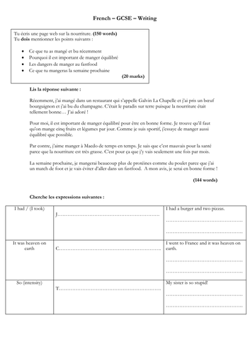 French - GCSE - writing - la nourriture (150 word model answer - complex structures)