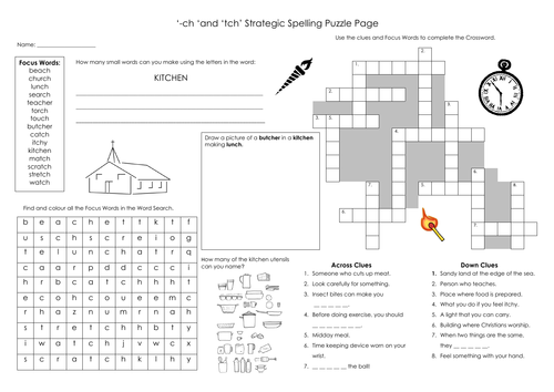 'tch' & '-ch' Spelling Puzzle Page