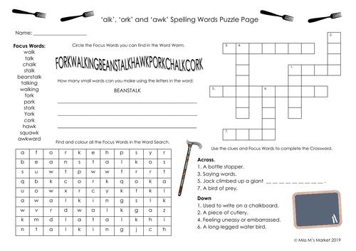 'alk', 'awk' & 'ork' Spelling Puzzle Pg