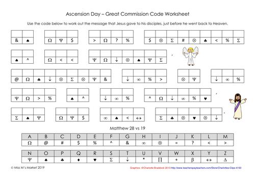 Ascension Day - Code Worksheet