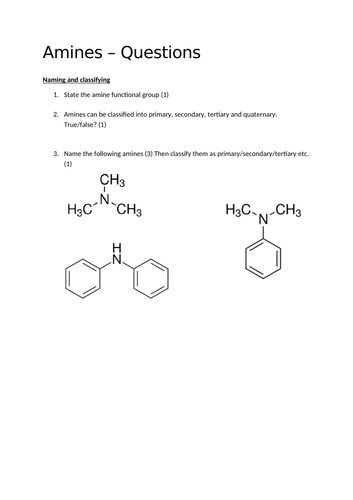 A2 Chemistry - Amines questions (+ answers!) by Elizabeth_B199