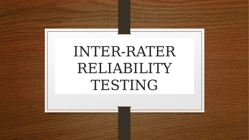 Inter-rater reliability, a fun classroom activity and worksheet