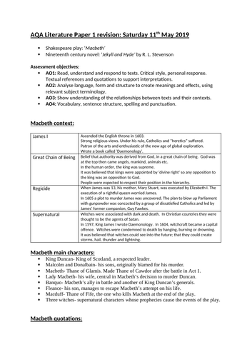 AQA GCSE English Literature Paper 1 revision booklet (Macbeth and Jekyll and Hyde)