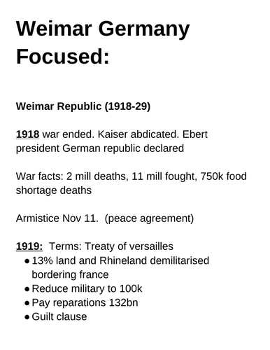 Edexcel GCSE History, Weimar Germany/Hitler's Rise To Power Revision Notes