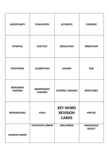 Scientific Method Key Word Revision Cards