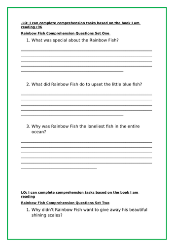 Rainbow fish worksheets - whole set