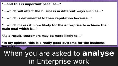 BTEC Enterprise Analysis/Evaluation posters