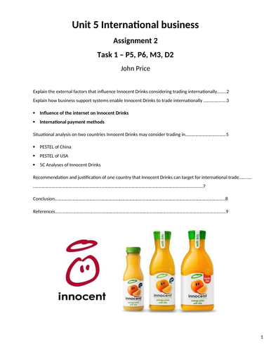 Unit 5 International business, Assignment 2, Learning Aim C & D